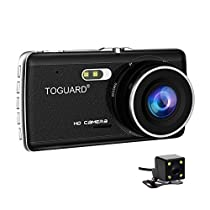 TOGUARD Dash Cam Front and Rear Dual Camera for Cars,4.0 Ips Screen,HD 1080P Car Dash Camera, Rearview Backup Camera,130 Degree Wide Angle, WDR, Loop Recording, G-Sensor, Parking Monitor