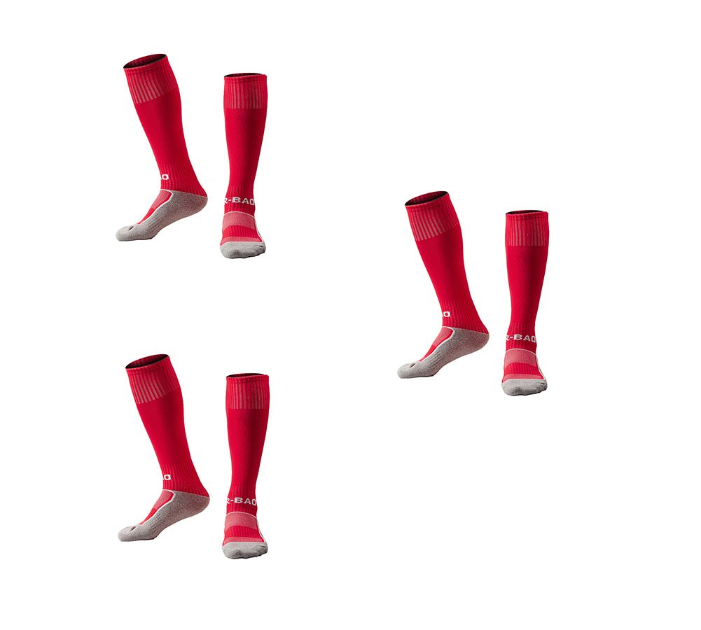 OUAYJI kids Knee High Sport Towel Bottom training compression Soccer Football Socks 3 pairs rose red by OUYAJI