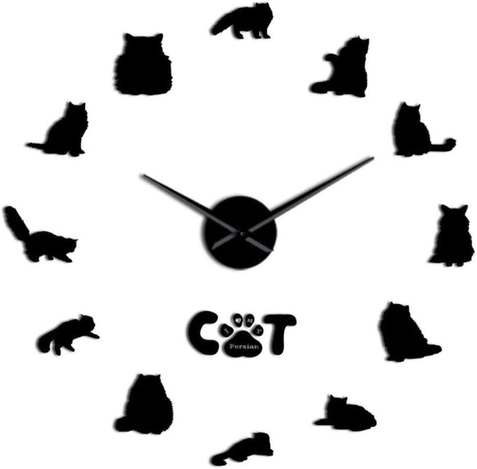 FENGSZ Reloj De Pared Persian Cat Breed 3D DIY Reloj De Pared, Negro