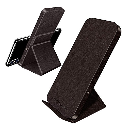 Polmxs L3 Fast Wireless Charger- qi Charger Stand, Phone Holder, Leather Wireless Charging Pad Mat for iPhone 8 Plus iPhone X, Samsung Galaxy S8 S7 S6 Edge Note8 Note5 LG Nokia