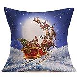 Decorative Pillow Cover - Gotd Xmas 18 x 18 Cushion Cover Festival Christmas Santa Claus Decorative Christmas Throw Pillow Cover Pillowcase Cushion for Sofa Christmas Gifts (J)