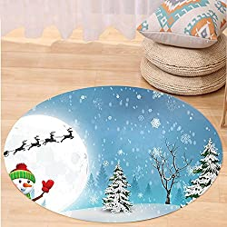 VROSELV Custom carpetChristmas Decorations Jolly Snowman under Full Moon Waving to Santa and Reindeer Sleigh Cartoon Kids Bedroom Living Room Dorm Decor White Blue Round 24 inches