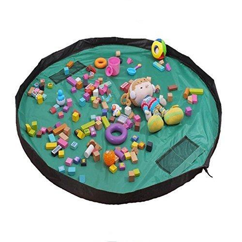 VAlink 60inch Toy Storage Bag, 150cm Portable Large Storage Bag, Children's Dolls Play Mat, Multi Purpose Kid's Activity Mat,Travel Picnic Mat Pouch, Organizer Storage Rug- Greem by VAlink