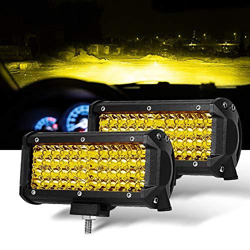 - 7 Inch 2PC Yellow Spot Beam LED Light Bar Sammanlight Light Pods Driving Lights Fog Lights Work Lights Amber Quad Row Lighting for Jeep Offroad Truck ATV UTV SUV Wrangler Boat Marine