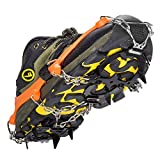 Crampons 8/10/12 Teeth Crampon Traction Device Non-slip Shoes Cover With Stainless Steel Chain Ice Claws by Ruipoo Climbing Shoes Claws (12 teeth(size:35-43)