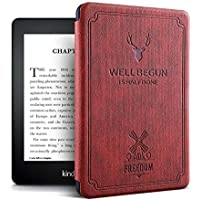MOCA Vintage Auto Wake Sleep Smart Folio flip case Cover Compatible for All Kindle Paperwhite 10 th 10th Gen Generation 2018 Release Smart Flip Cover case (Wine Red)