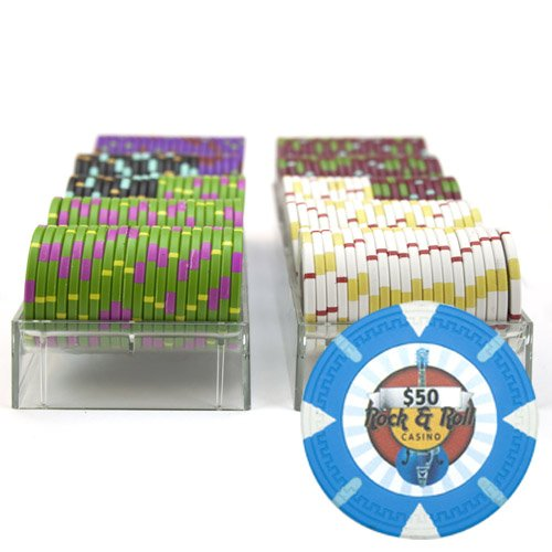 Claysmith Gaming 200-Count 'Rock & Roll' Poker Chip Set in Acrylic Trays, 13.5gm (Logo Hard Rock Cafe)