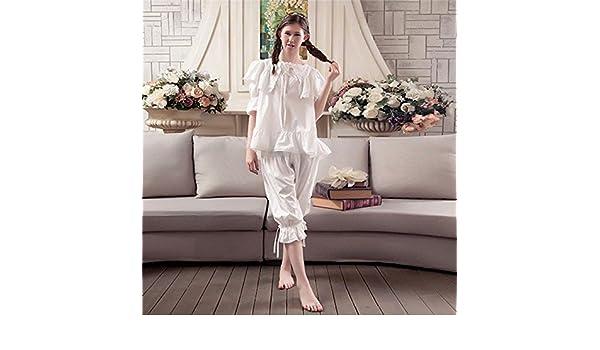 Syksdy Mujer De Algodón Pijama Señoras Sudor Transpirable Lace Dormir Batas Coreano Casual Cute Princess Dos Piezas Camisones Establece,Blanca,L: Amazon.es: ...