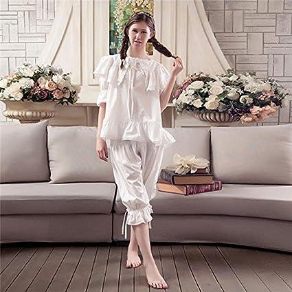 Syksdy Mujer De Algodón Pijama Señoras Sudor Transpirable Lace Dormir Batas Coreano Casual Cute Princess Dos