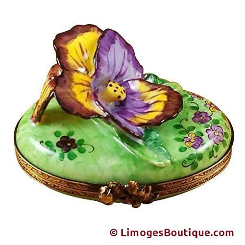 PANSY - PURPLE & YELLOW - LIMOGES BOX AUTHENTIC PORCELAIN FIGURINE FROM FRANCE