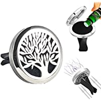 Tree Of Life Car Air Freshener Aromatherapy Essential Oils Vent Clip Locket Diffuser Pads Travel