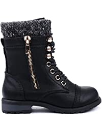 Mango-31 Kids Round Toe Military Lace Up Knit Ankle Cuff...