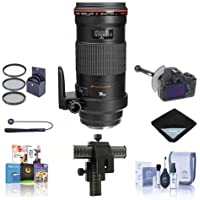 Canon EF 180mm f/3.5L Macro USM AF Lens Kit, USA - Bundle with 72mm Filter Kit, Lens Cap Leash, Lens Cleaning Kit, 4-Way Focusing Rail Fine Control, Lens Wrap, DSLR Follow Focus & Rack Focus