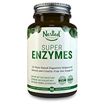 SUPER ENZYMES | 90 Vegan Capsules | 11 Essential Digestive Multi Enzyme Supplement: Amylase, Lipase, Bromelain, Lactase and Protease | Daily Plant Based Gut Health Complex Supplements for Men & Women