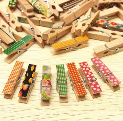50 Pcs Cute Painted Wooden Mini Craft Pegs Cloth Photo Picture Hanging Spring Clips Clothespin by shopidea