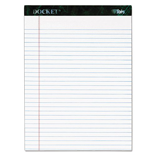 (TOPS 63416 Docket Ruled Perforated Pads, 8 1/2 x 11 3/4, White, 50 Sheets, 6/Pack)