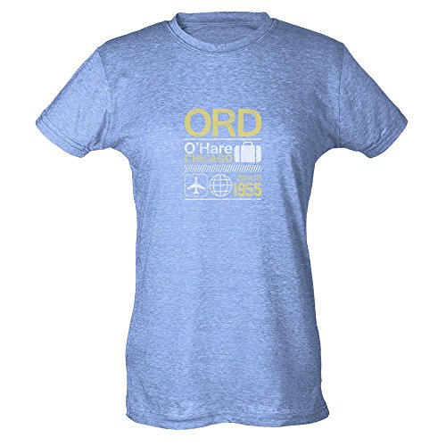 Pop Threads Ord O'Hare Chicago Airport Code Travel Heather Blue S Womens T-Shirt - Chicago Airport Ohare