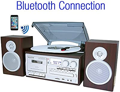 Boytone BT-28SPS, Bluetooth Classic Style Record Player Turntable with AM/FM Radio, Cassette Player, CD Player, 2 Separate Stereo Speakers, Record Vinyl, Radio, Cassette to MP3, SD Slot, USB, AUX from Boytone