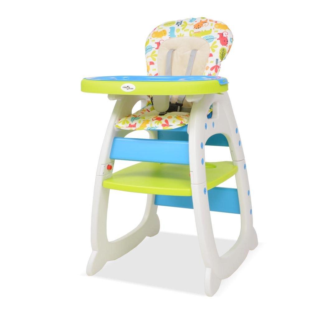 Festnight Silla para Bebe Trona Convertible 3 en 1 con Mesa para Bebé y Niños azul y verde
