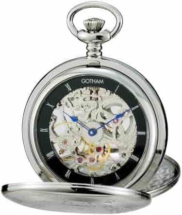 Gotham Men's Silver-Tone Mechanical Pocket Watch with Desktop Stand # GWC18800SB-ST