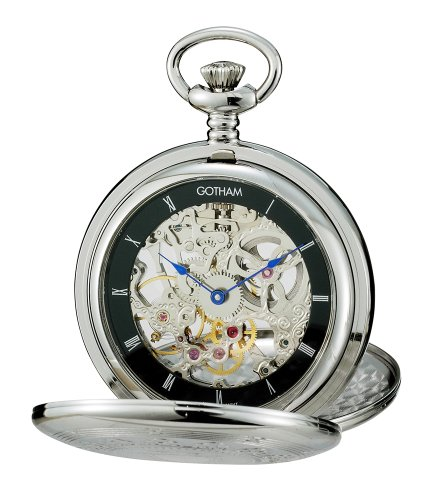 Gotham-Mens-Silver-Tone-Double-Cover-Exhibition-Mechanical-Pocket-Watch-GWC18800SB