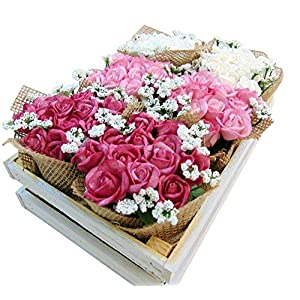 Roses Tray Artificial Flowers in Wooden Crate 9 1/2 Inches Long 29
