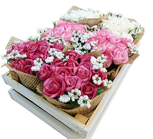 Roses-Tray-Artificial-Flowers-in-Wooden-Crate-9-12-Inches-Long