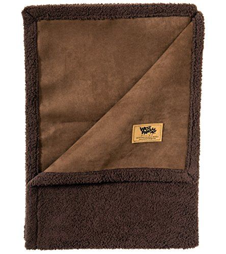 West Paw Big Sky Dog Blanket and Throw, Faux Suede/Silky Soft Fleece Pet Throw Blanket for Couch, Furniture Chair and Bed, Coffee Bean, Large