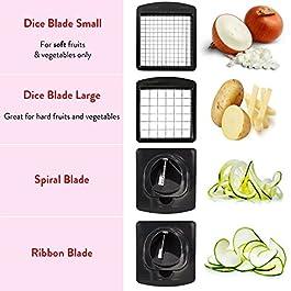 Fullstar Vegetable Chopper – Spiralizer Vegetable Slicer – Onion Chopper with Container – Pro Food Chopper – Slicer Dicer Cutter – 4 Blades