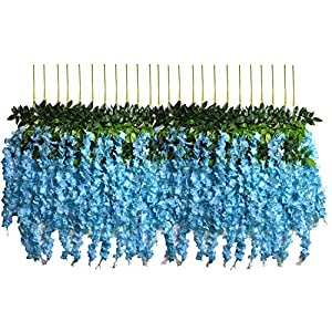 U'Artlines 12 Pack 3.6 Feet/Piece Artificial Fake Wisteria Vine Ratta Hanging Garland Silk Flowers String Home Party Wedding Decor Extra Long and Thick 11