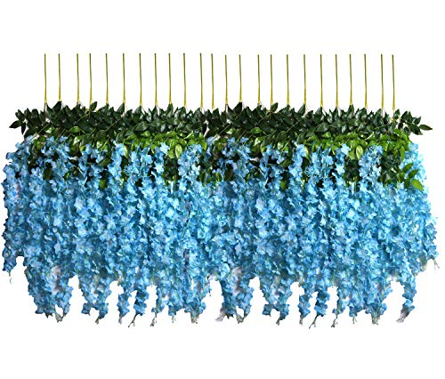 - U'Artlines 24 Pack 3.6 Feet/Piece Artificial Fake Wisteria Vine Ratta Hanging Garland Silk Flowers String Home Party Wedding Decor Extra Long and Thick (24, Blue)