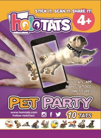 50% OFF HoloTats Pet Party - Holographic Augmented Reality Temporary Tattoos For Children & Adults. Great For Kids Parties and Gift Bags (Set of 10)