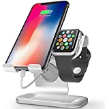 ZVEdeng 2 in 1 Universal Desktop Stand Holder for All iPhone and Android Smartphones, Kindle and Apple Watch Both 38mm/40mm/42mm (Silver-Leather)