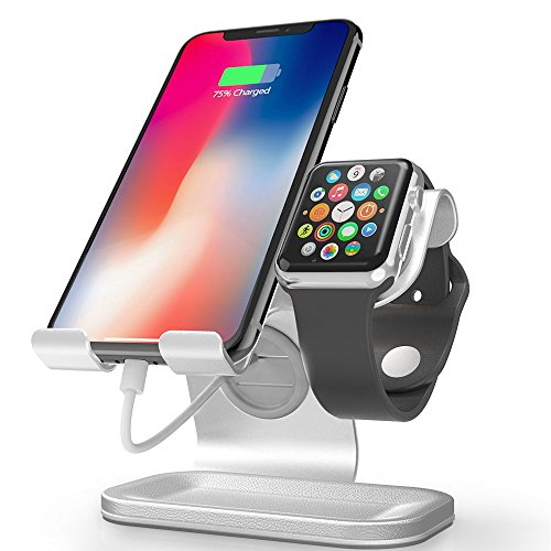 Apple Watch Stand, Apple Watch Charging Station, ZVEdeng 2 in 1 Cellphone and Apple Watch Stand, Universal Desktop Stand Holder for Tablet, Phone and Apple Watch Both 38mm-42mm (Silver-Leather)