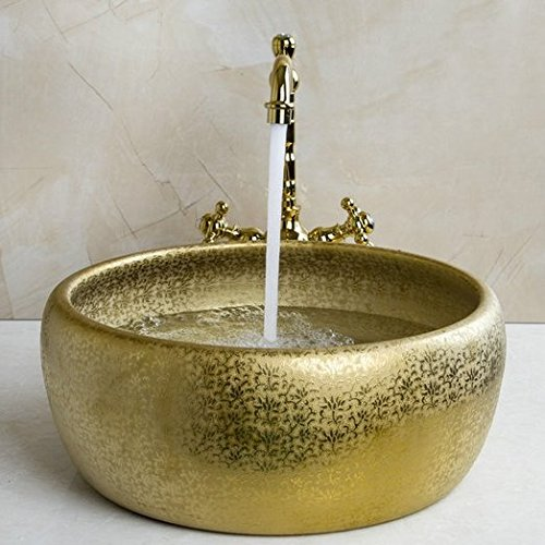 GOWE Double Handle Faucet Round Paint Golden Bowl Sinks / Vessel Basins Washbasin Ceramic Basin Sink & Faucet Tap Set 2