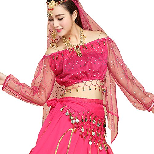 Pilot-trade Women's Sexy Top Belly Dance Costumes Long sleeve Highlights Lantern Top Dark Pink (Dark Dance Costumes)