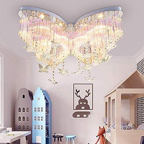 Litfad Modern Art Deco Ceiling Light 31 5 Wide Butterfly Shaped Crystal Raindrop Discoloration Pendant Light Led Flush Mount Fixture For Girls Room Kids Bedroom Study Room Amazon Com
