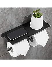 Gricol Dubbele toiletrol papierhouder ruimte aluminium wandmontage badkamer tissue-opslag met telefoonhouder plank Stand lade voor badkamer keuken…