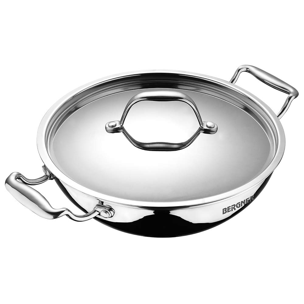 BERGNER - BG-9951 Argent Triply Stainless Steel Kadhai with Stainless Steel Lid, 32 cm, 5.8 Liters, Induction Base, Silver