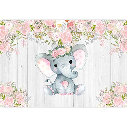 Baby Girl Elephant Theme (Allenjoy 7x5ft Rustic Floral Elephant Backdrop for Baby Shower Party Pink Flower Wood It's a Girl Banner Birthday Photography Background Cake Table Decoration Photo Booth Studio Props Favors)