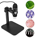 CISNO USB 2.0 Digital Microscope, 2MP 1000X Magnification 8 LED Endoscope Zoom Camera Magnifier with Fixed Stand, Compatible with Windows