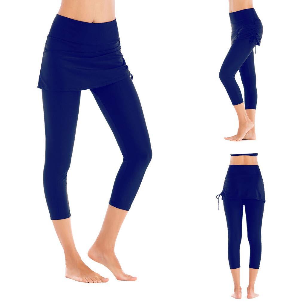 NOMUSING Women Long Board Shorts High Waist Protection Swim Leggings Bikini Swim Pants Bottom Swimsuit Swimwear Bathing