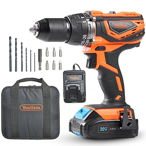 VonHaus Cordless Drill Driver with 2.0Ah Li-ion 20V Max Battery, Charger,...