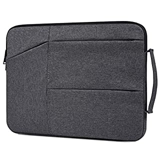 15.6 inch Premium Water Resistant Shockproof Laptop Briefcase Bag with Handle fit Acer Aspire E15, ASUS VivoBook, Toshiba, Dell Inspiron, Lenovo, MSI, HP Notebook Protective Carrying Case, Space Grey