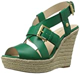 Nine West Women's Jentri Synthetic Wedge Sandal, Green/Green, 12 M US