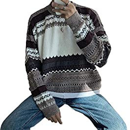 Vintage Crew Neck Knit Stripes Pullover Baggy Sweater