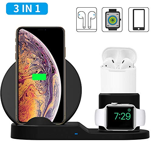 3 in 1 Wireless Charger, 10W Qi Fast Wireless Charger Stand Compatible with QI Phones,ACETEND Wireless Charging Station Compatible with Apple iWatch Series 1/2/3/4 and AirPods (Black)