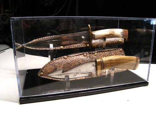 Double Knife Display Case With Sheath Holder 14in Stand Fits Custom Work and Randall Knives