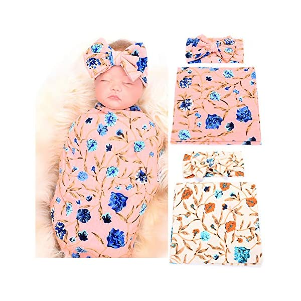 Galabloomer Newborn Receiving Blanket Headband Set Flower Print Baby Swaddle Receiving Blankets (Pink Ivory Pack Two)