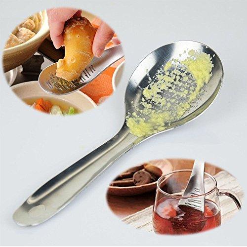 SPECIAL Stainless Steel Lemon Zester Ginger Grater Garlic Grinding Tool Spoon,Spoon Zester, Silver
